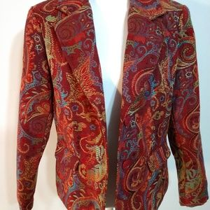 Notations Blazer Tapestry Button Front Multi-color